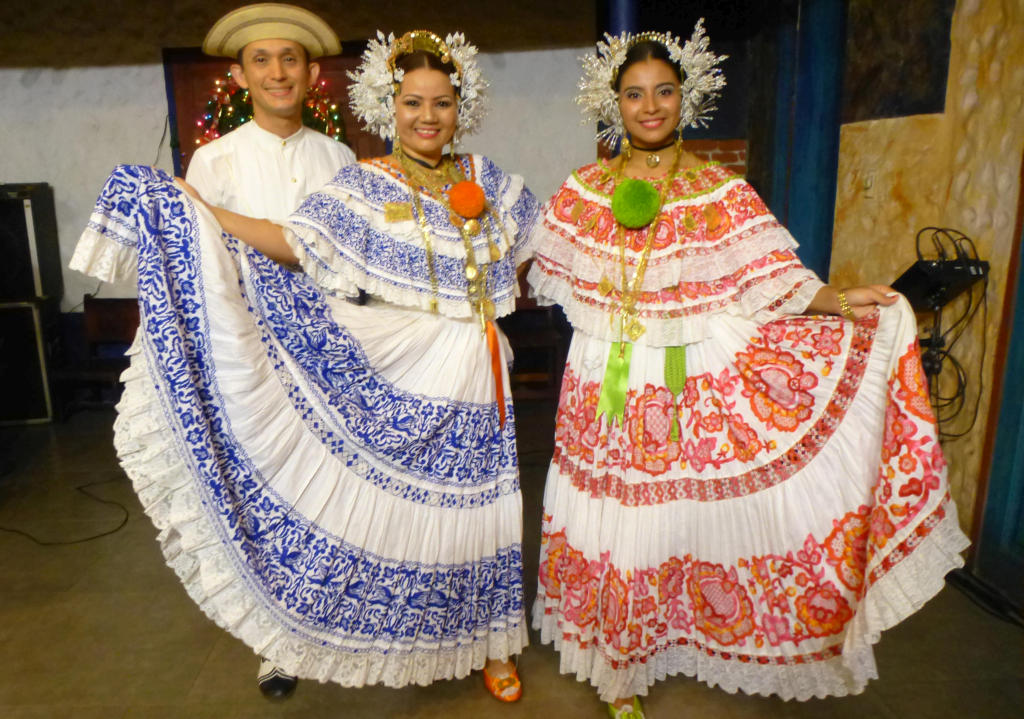 Dancers in beautiful traditional Panamanian outfits - each dress reportedly costs upwards of $4000!